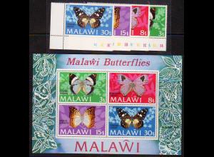 Malawi: 1973, Schmetterlinge (Satz und Blockausgabe)