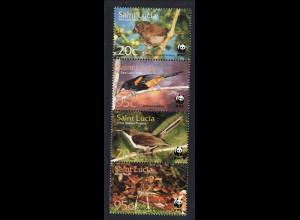 St. Lucia: 2001, Singvögel (Zdr.-Streifen, WWF-Ausgabe)
