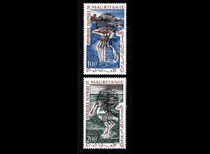 Mauretanien: 1962, Überdruckausgabe Malariabekämpfung in beiden Typen (frankaturungültige Marken, Motiv Vögel)