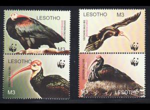 Lesotho: 2004, Glattnackenibis (nur die 4 Werte WWF-Ausgabe)