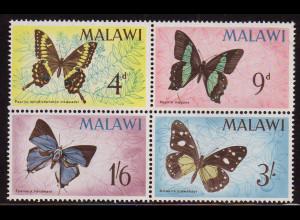 Malawi: 1966, Herzstück aus Blockausgabe Schmetterlinge
