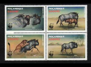 Mosambik: 2000, Streifengnu (Viererblock, WWF-Ausgabe)