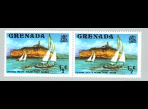 """Grenada: 1975, Freimarke ½ C., Plattenfehler: """"fehlerhafte Inschrift Point Salines"""" (im waager. Paar mit Normalmarke)"""