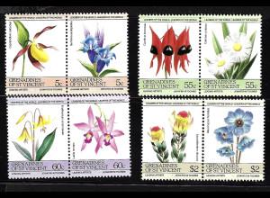 St. Vincent / Grenadinen: 1985, Zusammendruckpaare Blumen