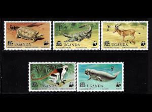 Uganda: 1977, Seltene Tierarten (Satz und Blockausgabe, frühe WWF-Ausgabe)