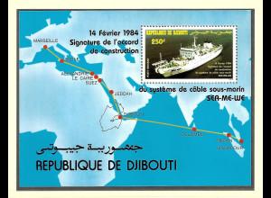 Dschibuti: 1984, Blockausgabe Unterseekabel (Motiv Schiffe)