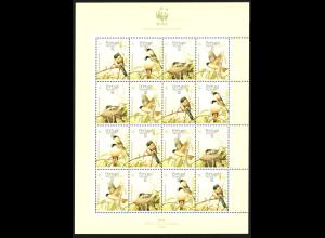 Azoren: 1990, Azorengimpel (WWF-Ausgabe als Zusammendruckbogen, enthält 4 Fünferstreifen)