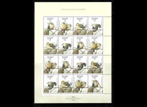 Azoren: 1989, Wintergoldhähnchen (Zusammendruckbogen, enthält 4 Fünferstreifen)