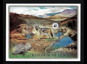 Lesotho: 1981, Blockausgabe Schabrackenschakal (WWF-Ausgabe)