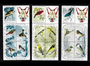Kuba: 1965, Vögel (Weihnachten, 3 Sechserblöcke)