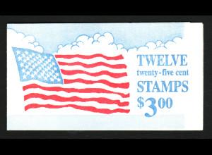 USA: 1988, Markenheftchen Flagge vor Wolken (Kat.-Nr. 1976)