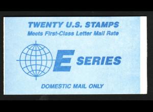 USA: 1988, Markenheftchen E-Serie (Motiv Erde aus dem Weltraum gesehen, Kat.-Nr. 1973)