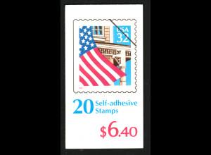 USA: 1996, Markenheftchen Flagge vor Hausfassade (Kat.-Nr. 2726)