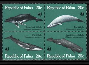 Palau-Inseln: 1983, Wale (Viererblock, WWF-Ausgabe)