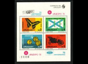 Uruguay: 1978, Blockausgabe Briefmarkenausstellung (auch Motiv Schmetterlinge, Fußball und Autos)