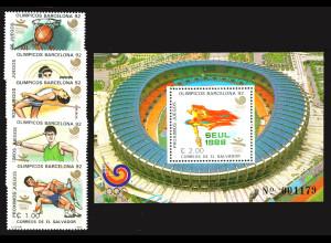 El Salvador: 1988, Sommerolympiade Seoul und Barcelona (Satz und Blockausgabe)