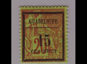 Guadeloupe: 1889, Überdruckausgabe 15 auf 20 C.
