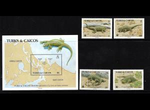 Turks- und Caicos-Inseln: 1986, Wirtelschwanzleguan (Satz und Blockausgabe, WWF-Ausgabe)