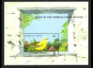 Turks- und Caicos-Inseln: 1990, Blockausgabe Vögel (Einzelstück)