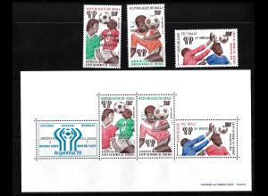 Mali: 1978, Überdruckausgabe Fußball-WM Argentinien (Satz und Blockausgabe)