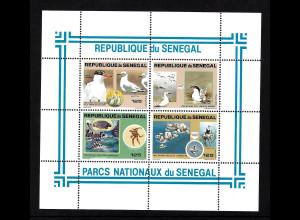 Senegal: 1981, Blockausgabe Nationalparks (überwiegend Vögel)