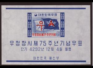 Südkorea: 1959, Blockausgabe 75 Jahre Postwesen