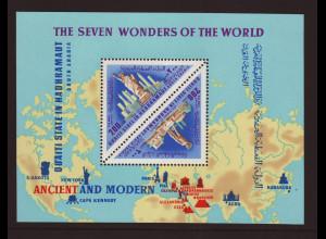 Aden - Qu´aiti State in Hadhramaut: 1968, Blockausgabe Weltwunder der Antike und Neuzeit
