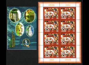 Lettland: 2004, Eishockey-WM (Markenheftchen und Kleinbogen)