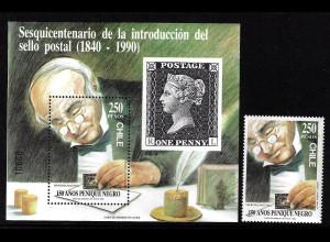Chile: 1990, 150 Jahre Briefmarken (Einzelmarke und Blockausgabe, Sir Rowland Hill, Motiv Marke auf Marke)