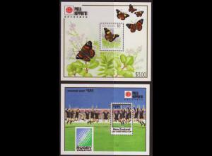 Neuseeland: 1991, Ausstellungsblockpaar Schmetterlinge