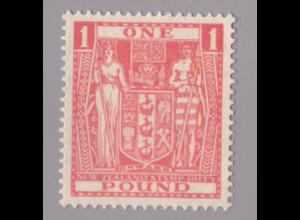 Neuseeland: 1943, Stempelmarken Staatswappen 1 £ (postfrisch, Katalognotierung ist für Falz)