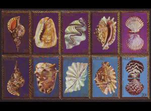 Palau-Inseln: 1984, Muscheln und Meeresschnecken (Zehnerblock)
