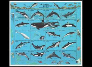 Palau-Inseln: 1991, Zdr.-Kleinbogen Delfinartige Meerestiere