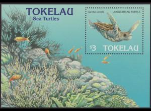 Tokelau-Inseln: 1995, Blockausgabe Meeresschildkröten