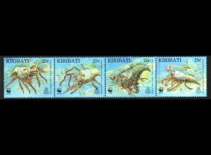 Kiribati: 1998, Kiribati-Languste (WWF-Ausgabe, Viererstreifen)