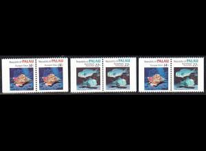 Palau-Inseln: 1985, Freimarkenergänzungswerte Meerestiere (3 verschiedene D/D-Paare aus Markenheftchen)