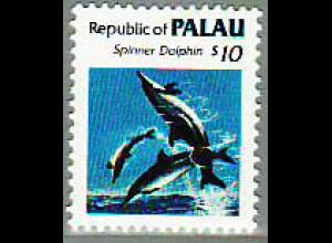 Palau-Inseln: 1986, Freimarkenergänzungswert Fleckendelfin 10 $