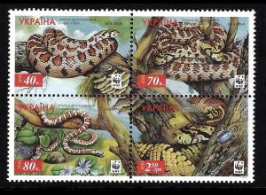 Ukraine: 2002, Leopardnatter (Viererblock, WWF-Ausgabe)