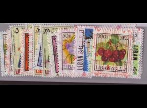 Libanon: 1978, Freimarken-Überdruckausgabe komplett ohne Kat.-Nr. 1272, 1777, 1280 und 1283 (dabei auch viele Werte Pflanzen, Katalogwert Euro 82,-)