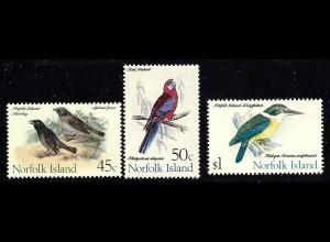 Norfolk-Insel: 1970/71, Freimarken Vögel (nur Höchstwerte 45 C. - 1 $)