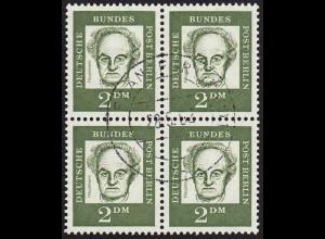 1961, Bedeutende Deutsche 2 DM (zentrisch gestempelter Viererblock, gepr.)