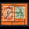 1912, Flugpost am Rhein und Main 1 Mk. Gelber Hund (Briefstück)