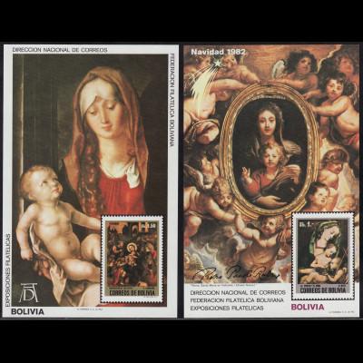 Bolivien: 1982, Blockpaar Weihnachten (Gemälde von Rubens und Dürer, M€ 100,-)