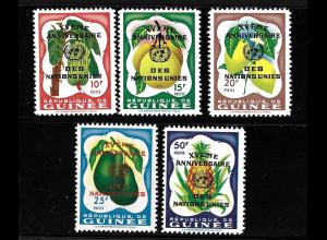 Guinea: 1960, Überdruckausgabe UNO (alle Werte mit Motiv Obstsorten)