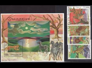 Somalia: 1998, Großkatzen (Satz und Blockausgabe)