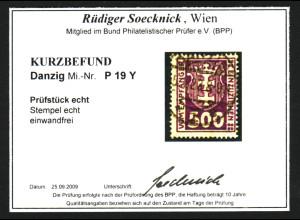 Danzig: 1923, Portomarken WZ 3 500 Pf. (zentrisch gest. Bedarfsstück)