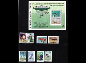 Malediven: 1977, Ch. Lindbergh (Satz und Blockausgabe, Motiv Flugzeuge)