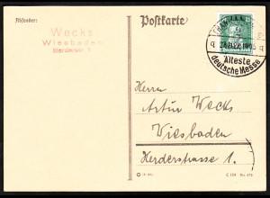 1927, Arbeitsamt 8 Pfg., portogerechte EF auf Postkarte im Fernverkehr