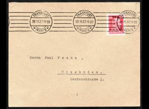 1927, Arbeitsamt 15 Pfg., portogerechte EF auf Brief im Fernverkehr