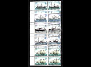 Falklandinseln: 1982, Schiffe 1, 3, 5 und 6 P. jeweils als Heftchenblatt mit vier Marken in Type II